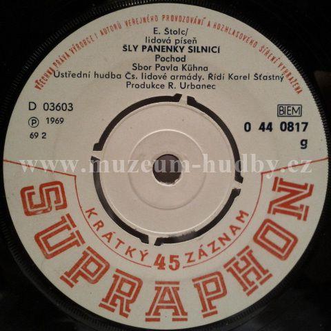 """Sbor Pavla Kühna / Josef Zíma: Šly Panenky Silnicí / Slovanka - Vinyl(45"""" Single)"""