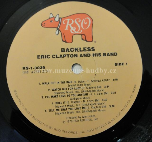Eric Clapton Backless Online Vinyl Shop Gramofonov 233 Desky