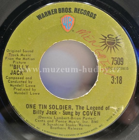 "Coven: One Tin Soldier (The Legend Of Billy Jack) / I Think You Always Knew (The Theme From Billy Jack) - Vinyl(45"" Single)"