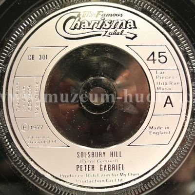 "Peter Gabriel: Solsbury Hill / Moribund The Burgermeister - Vinyl(45"" Single)"