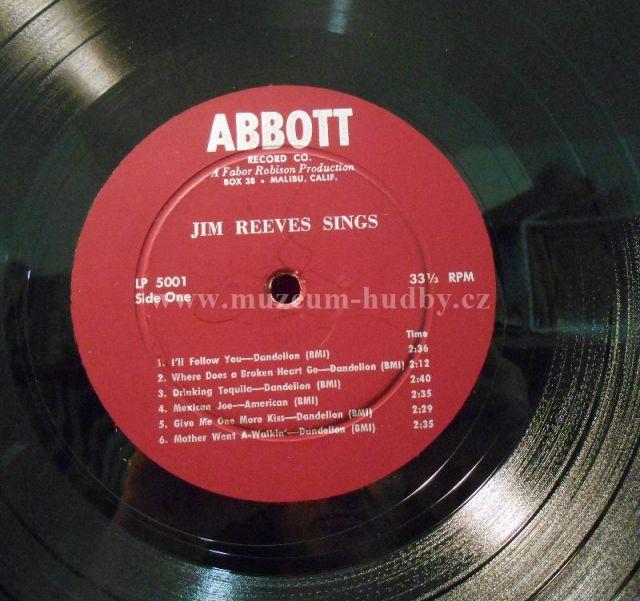 Jim Reeves Sings Online Vinyl Shop Gramofonov 233 Desky
