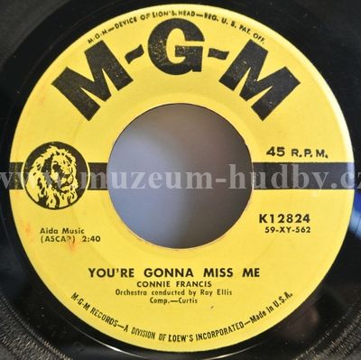 "Connie Francis: You're Gonna Miss Me / Plenty Good Lovin' - Vinyl(45"" Single)"