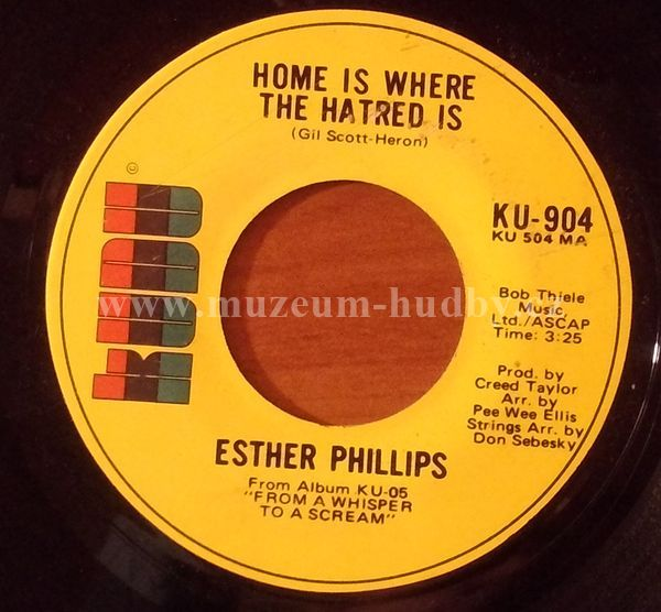 """Esther Phillips: Home Is Where The Hatred Is / 'Til My Back Ain't Got No Bone - Vinyl(45"""" Single)"""