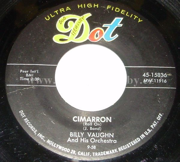 "Billy Vaughn And His Orchestra: Cimarron (Roll On) / You're My Baby Doll - Vinyl(45"" Single)"