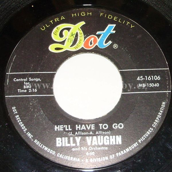 "Billy Vaughn And His Orchestra: He'll Have To Go / Look For A Star - Vinyl(45"" Single)"