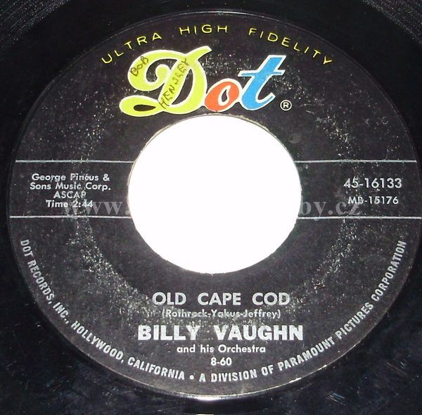 "Billy Vaughn And His Orchestra: Old Cape Cod / The Sundowners - Vinyl(45"" Single)"