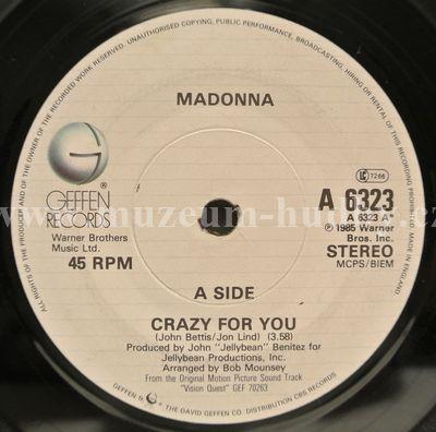 """Madonna / Sammy Hagar: Crazy For You / I'll Fall In Love Again - Vinyl(45"""" Single)"""
