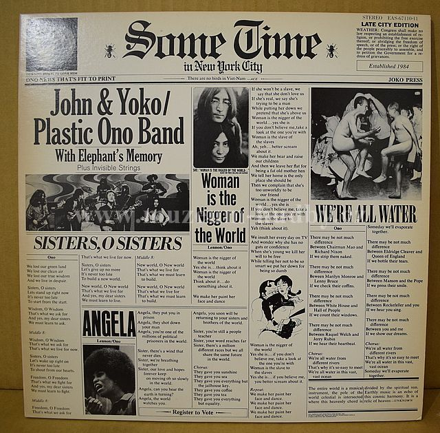 """John & Yoko / Plastic Ono Band With Elephant's Memory And Invisible Strings [Frank Zappa]: Some Time In New York City - Vinyl(33"""" LP)"""