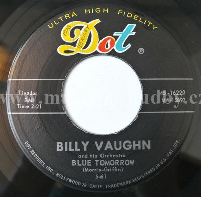 "Billy Vaughn And His Orchestra: Blue Tomorrow / Red Wing - Vinyl(45"" Single)"