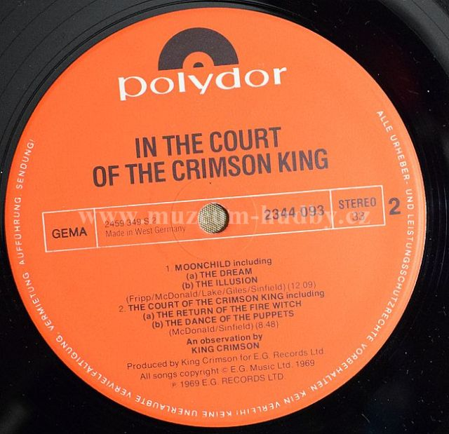 King Crimson In The Court Of The Crimson King An