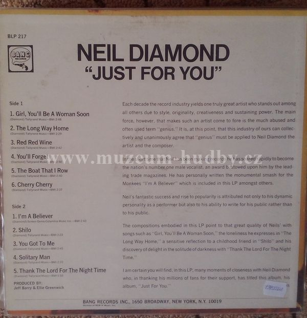 Neil Diamond Just For You Product Detail Online Vinyl